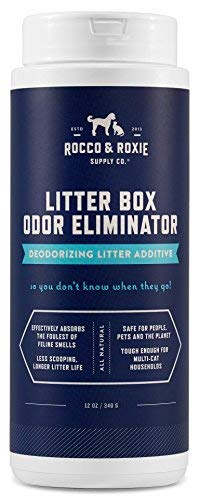 Litter Box Freshener - Rocco & Roxie Litter Box Odor Eliminator - Best Natural Urine Deodorizer for Cat Litter Boxes - You Won't Need to Change The Cat Litter as Often - Fresh Scent - Safe for Kitty (12 oz Bottle)