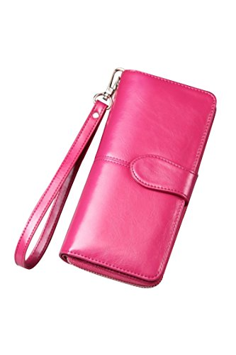 Women's Blocking Leather Wallet Large Capacity Wristlet Handbag Clutch Rose Red by Deerludie & T