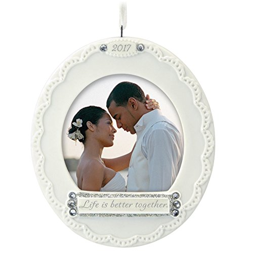 First Christmas Wedding Ornament (Hallmark Keepsake 2017 Life Is Better Together Photo Holder Porcelain Dated Christmas Ornament)