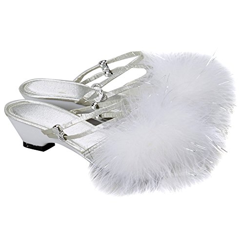 Rubie's Costume Co Girls Silver Dress Up Shoes With White Feathers