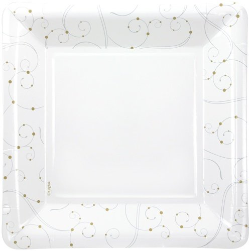 Hanna K. Signature Collection 12 Count Square Swirls and Pearls Paper Plates, 10.25-Inch, White