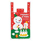 Lovely Mark 25X45cm 50Pcs Creative Bag Snowman Xmas Party Holiday Cookie Candy Fudge Shopping Plastic Gift Bag Recyclable T-Shirt Shopping Bags