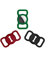 Frevivim Silicone AirTag Holder[3 Pack]. Protective Air Tag Case for Dog Cat Collar, Backpack Strap or Belt. Compatible with Apple AirTags(2021) (Black-Green-Wine Red)