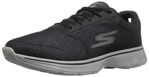 Eu 4 Skechers Basses Walk Baskets Synthetic gray Black Noir Go Leather Homme 41 xZB8Z1w