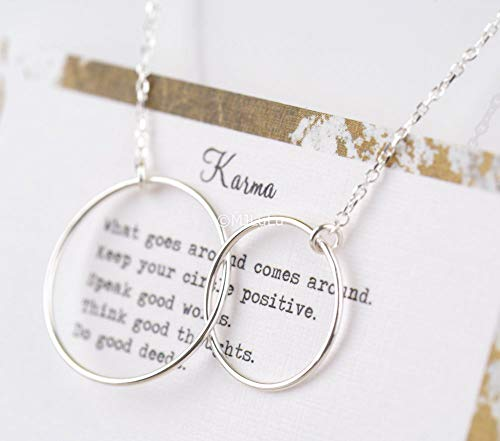 Simple Interlocking Karma Circles Sterling Silver 925 Infinity Circles Necklace (Circle Sterling Necklace)