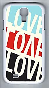 Galaxy S4 Case, Personalized Protective Hard PC White Edge Love Case Cover for Samsung Galaxy S4