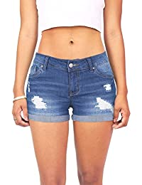 Women's Juniors Body Enhancing Denim Shorts