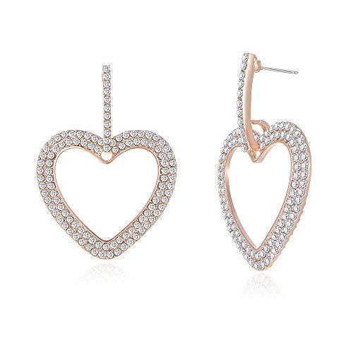 Dangle Earrings for Women Rose Gold Heart Shape Earrings Girls Classic Crystal Rhinestone Drop Earrings Pierced Austrian Style Hypoallergenic Earrings Womens Bridal Jewelry - Rhinestone Hoop Pierced Earrings