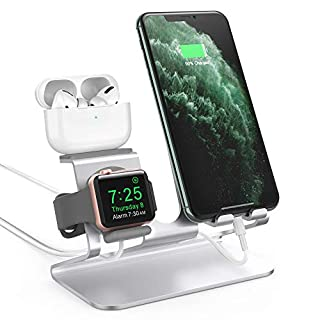AhaStyle 3 in 1 Charging Stand Dock Aluminum Desktop Holder for Cell Phone, AirPods Pro/AirPods 2/ AirPods and Apple Watch Series SE/6/5/4/3/2/1(Silver)