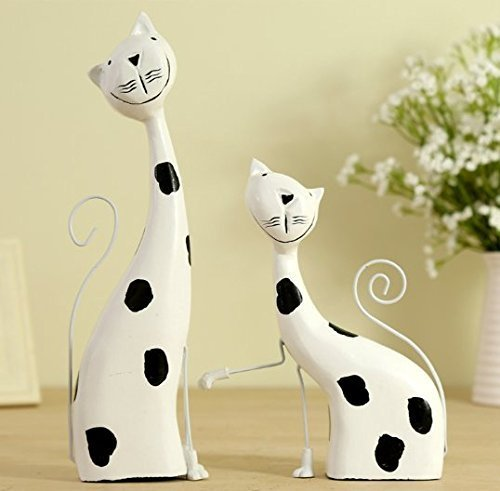 URTop 2Pcs/Set Modern Fashion Lovers Cat Couple Ornament Crafts Wedding Gift Decoration Home Decor Wood Figure Figurine Wooden Statue