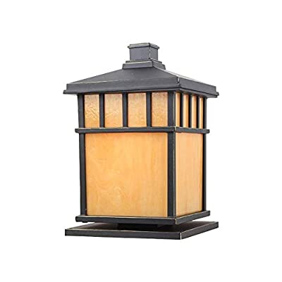 Berlato E27 Square Outdoor Post Light Waterproof Rust-Proof Aluminum Metal Courtyard Column Lights Park Door Pillar Lantern with PVC Lampshade Bollard Floor Lamp