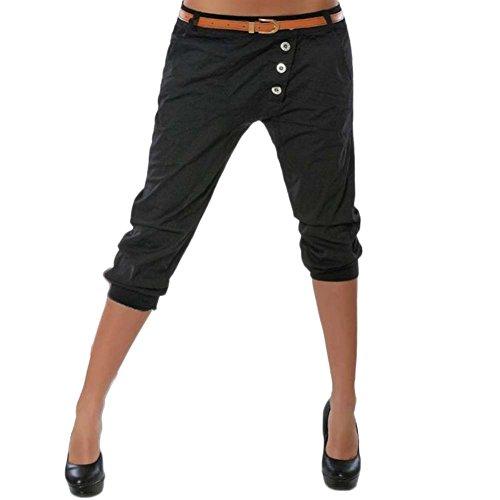 3 Sans 4 Femme Chino Laozana Short Noir Unie Couleur Bretelles Pantalon Sarouel RtqCz4