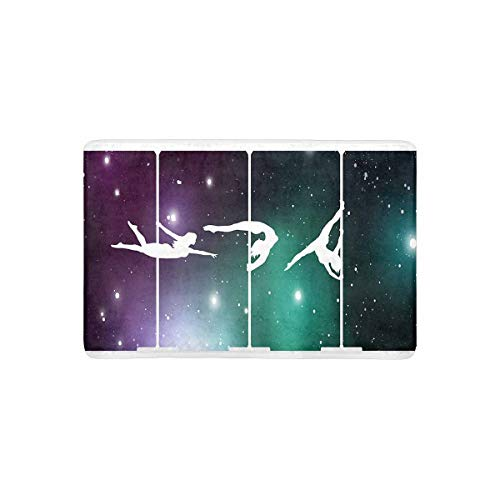 InterestPrint Silhouettes of Female Pole Dancers On Galactic Space Background Doormat Anti-Slip Entrance Mat Floor Rug Indoor/Outdoor/Front Door Mat Home Decor, Rubber Backing 23.6