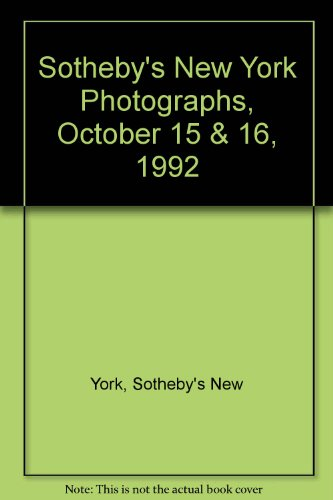 Sotheby's New York Photographs, October 15 & 16, 1992