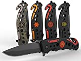 3-in-1 Fire & Rescue Tactical Knife for Firefighters and First Responders with Glass