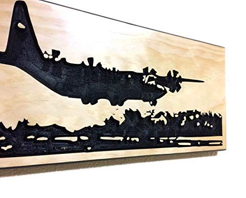 Valentines Day Gift For Him C-130 Hercules Gifts Military Airplane Decor Carved Wood Sign ()