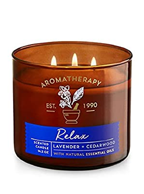 Bath & Body Works 3Wick Candle-Relax-Lavender & Cedarwood Aromatherapy Scented Candle