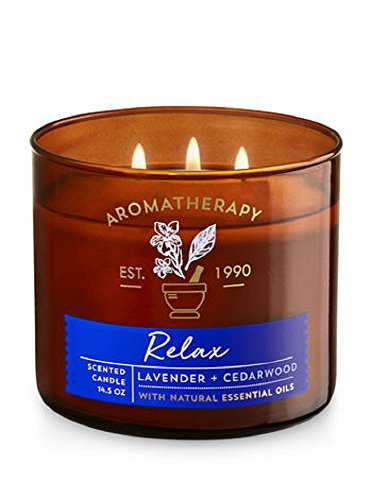Bath & Body Works 3 Wick Candle - Relax - Lavender & Cedarwood Aromatherapy Scented Candle