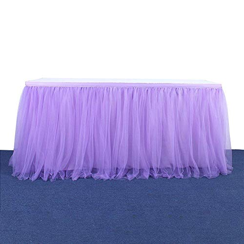 Haperlare 9ft Tablecloth Purple Tulle Table Skirt Queen Snowflake Wonderland Tulle Purple Tablecloth Tutu Tablecloth Skirting for Wedding Baby Shower Christmas Birthday Banquet Table Decorations -