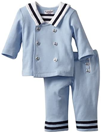 Kitestrings Baby-boys Newborn Interlock 2 Piece Jacket And Pant Set, Sky Sulphur, 3-6 Months