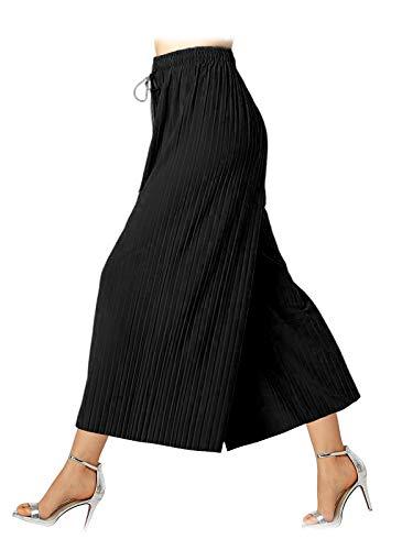 Design by Olivia Women's Elastic Waist Chiffon Loose Pleated Wide Leg Palazzo Overlay Capri Black ONE