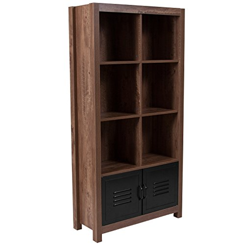 - Flash Furniture New Lancaster Collection Crosscut Oak Wood Grain Finish Storage Shelf with Metal Cabinet Doors