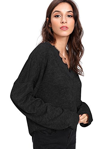 Verdusa Women's Batwing Sleeve Sweaters Jumper Eyelash Lace Pullover Tops Black-1 L by Verdusa (Image #2)