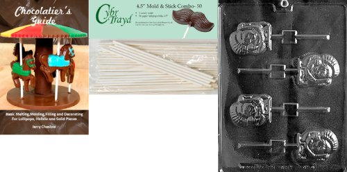 Cybrtrayd 45St50Bk-T041 'Turkey Lolly' Thanksgiving Chocolate Candy Mold with 50 4.5-Inch Lollipop Sticks and Chocolatier's Guide ()