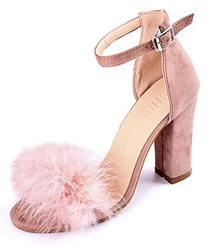 (Women's High Heel Platform Dress Pump Sandals Ankle Strap Block Chunky Heels Party Shoes - Blush 8)