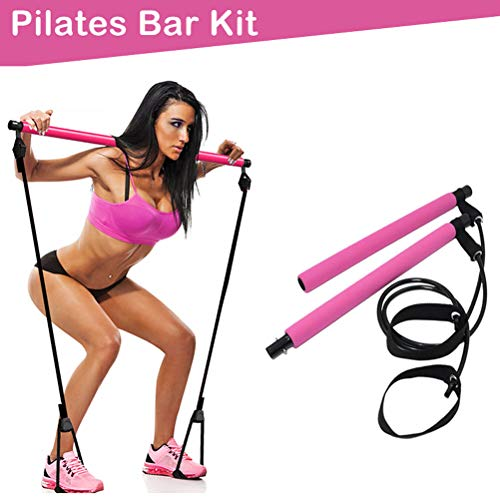 Pilates Bar Kit with Resistance Band, Portable Home Gym Workout Package,Resistance Band and Toning Bar Yoga Pilates Stick Yoga Exercise Bar with Foot Loop for Total Body Workout (Pink)