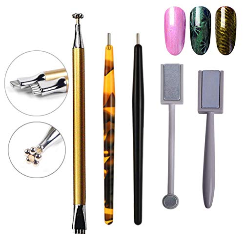 5Pcs Nail Magnet Tool Set, AKWOX Double Head Flower Design Nail Magnet Pens and Strong Magnet Stick Dotting pens for 3D Cat Eye Gel Polish Nail Art