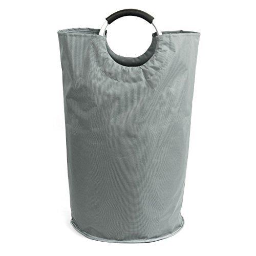 eDealMax plegable de lavandera Cesto, Colegio de lavandera Bolsas, almacenamiento cesta de lavadero Con aleacin Maneja, gris claro