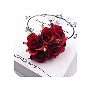 6Pcs/lot Artificial Flowers Simple Red Rose Bouquet Wedding Home Decorative Accessories Fleurs DIY Scrapbook Craft Flower 115