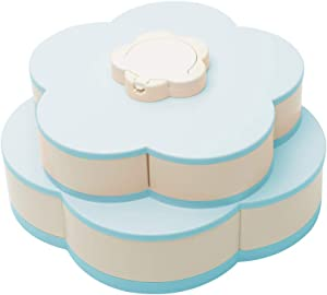 Rotating Snack Serving Tray, ?Double-Deck ?Petal-Shaped Snack Platter? 10 Sectional Divided Candy Containers with Phone Holder?? for Nut Candy Dried Fruit Food Storage Organizer (Blue)