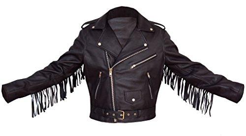 Mens Fringed Leather Motorcycle Jacket - 1