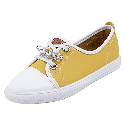 TAOFFEN Scarpe Stringate Donna Sneaker Yellow zTwgrzPvq