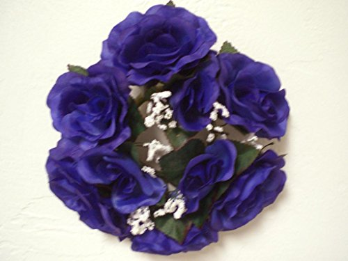 - 3 Candle Rings Roses Center Pieces Artificial Silk Flowers 4005 BLUE PURPLE