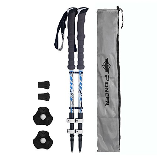 Adjustable Carbon Cork Anti Shock Hiking Walking Trekking Poles Collapsible Ultralight Hiking Sticks Perfect for Walking, Backpacking and Snowshoeing - 2 Pack