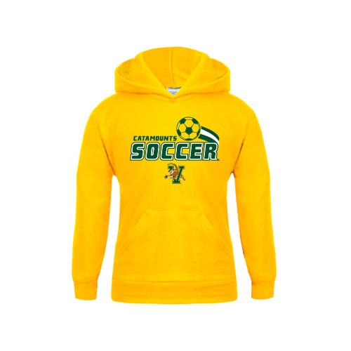 Vermont Youth Gold Fleece Hoodie Soccer Swoosh Design