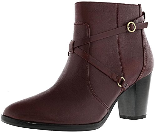 Isaac Mizrahi Live! Womens Laura Leather Ankle-High Boot Mulberry L0KN8v