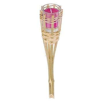 Dekorative Gartenfackel Bambus Mit Kerze Im Glas Pink 30cm Amazon