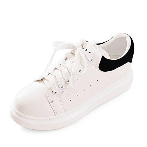 Primavera y otoño moda zapatillas/Zapatos de plataforma de fondo grueso/Zapatos del ocio/Blanco con zapatos planos B