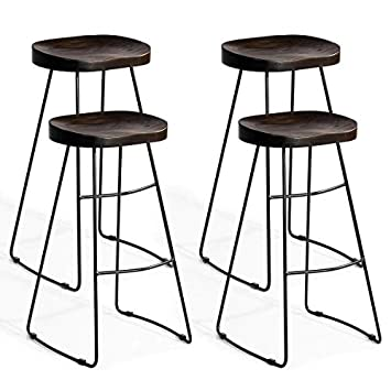 COSTWAY Metal Bar Stools Tolix Style Industrial Backless Counter Height Stools w Square Seat Set of 4 Silver