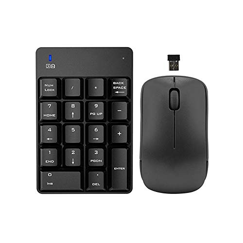 Lardoo 2.4Ghz 18 Keys Wireless Numeric Keypad Number Keyboard Portable Optical Mouse Combo Set Professional for Windows