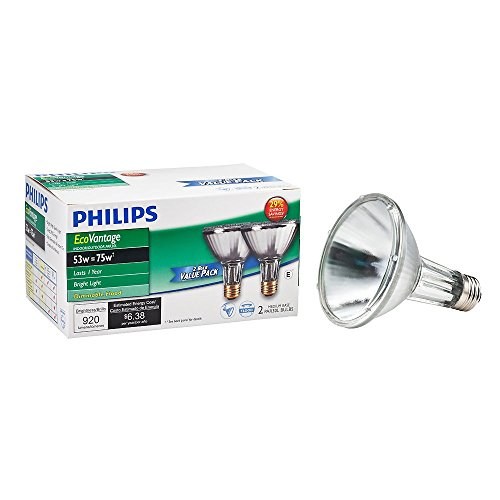 Philips 429365 Halogen PAR30L 75 Watt Equivalent 25 Degree Flood Light Bulb, 2 Pack (Ceiling Bathroom Premium Fan)