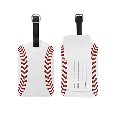 Baseball Leather Briefcase (2PCS Leather Sport Baseball Lace Print Luggage Tags Travel Baggage Labels Bag Tag)