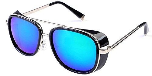 Unisexe femmes Steampunk Lunettes hommes pour lunette vert Lunettes Cru de miroir Noir de soleil et BOZEVON TqCPzwz