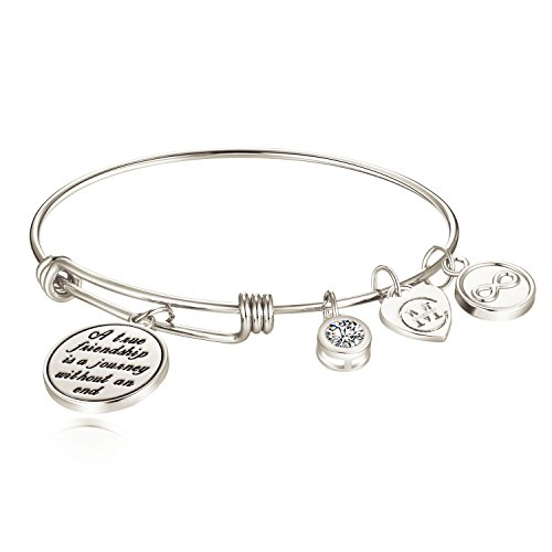 ''A true friendship is a journey without an end'' Womens Charm Bangle Bracelet Jewelry Gifts by Charmire