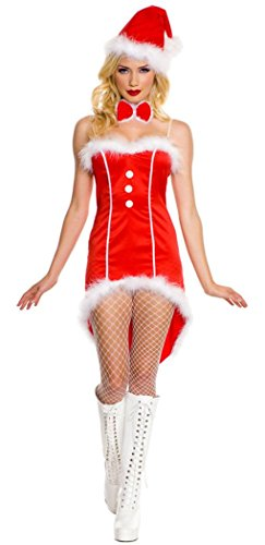 IF FEEL Womens Sexy 3 Piece Candy Cane Corset Santa Adult Costume (One Size, 02) (Sexy Grinch)