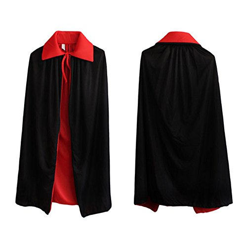 Pirate Customes (Black and Red Devil Pirate Vampire Demon Custome Cloak Reversible Dress For Masquerade Parties, Carnival, Halloween or Any Other Parties (S))